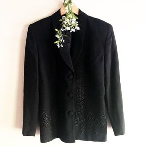 Christian Dior Women Wool Blazer Embroidery Black